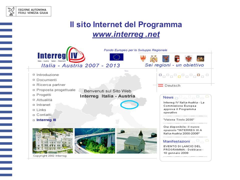 Il sito Internet del Programma www.interreg.net