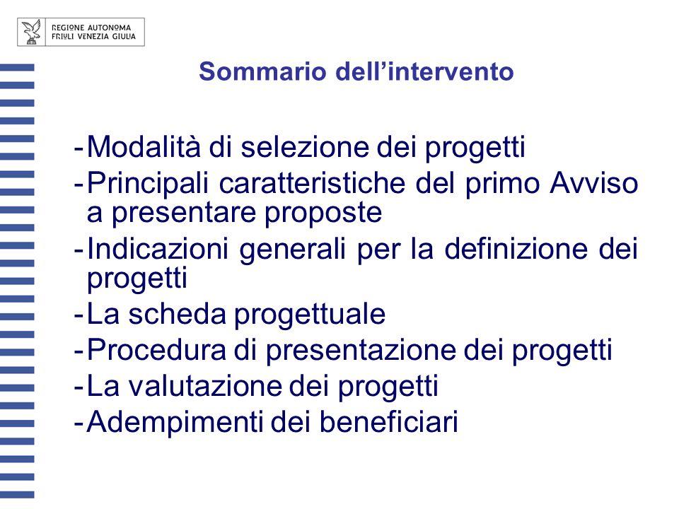 Sommario dellintervento -Modalità di selezione dei progetti -Principali caratteristiche del primo Avviso a presentare proposte -Indicazioni generali per la definizione dei progetti -La scheda progettuale -Procedura di presentazione dei progetti -La valutazione dei progetti -Adempimenti dei beneficiari