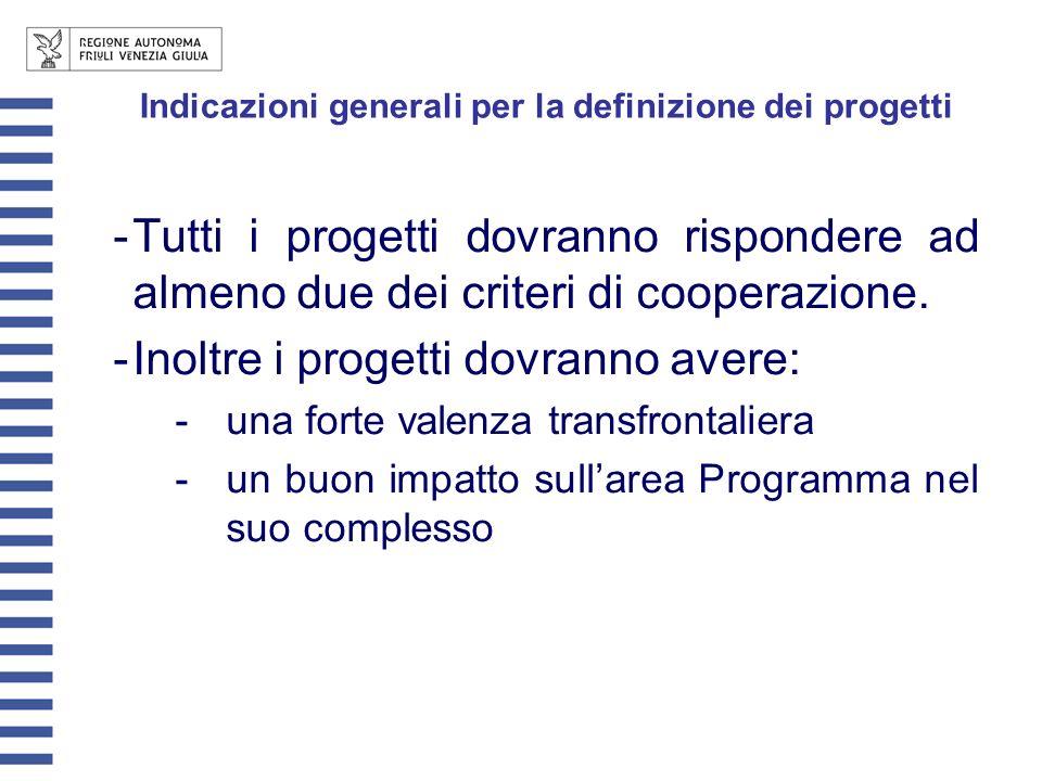 Indicazioni generali per la definizione dei progetti -Tutti i progetti dovranno rispondere ad almeno due dei criteri di cooperazione.