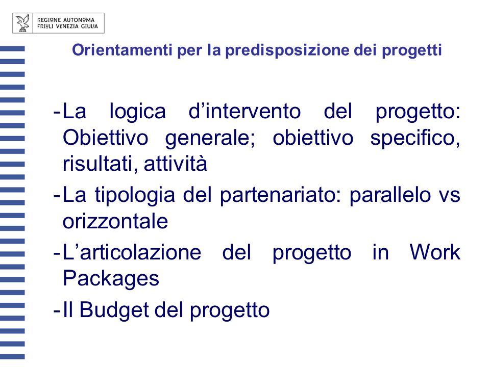 Orientamenti per la predisposizione dei progetti -La logica dintervento del progetto: Obiettivo generale; obiettivo specifico, risultati, attività -La tipologia del partenariato: parallelo vs orizzontale -Larticolazione del progetto in Work Packages -Il Budget del progetto
