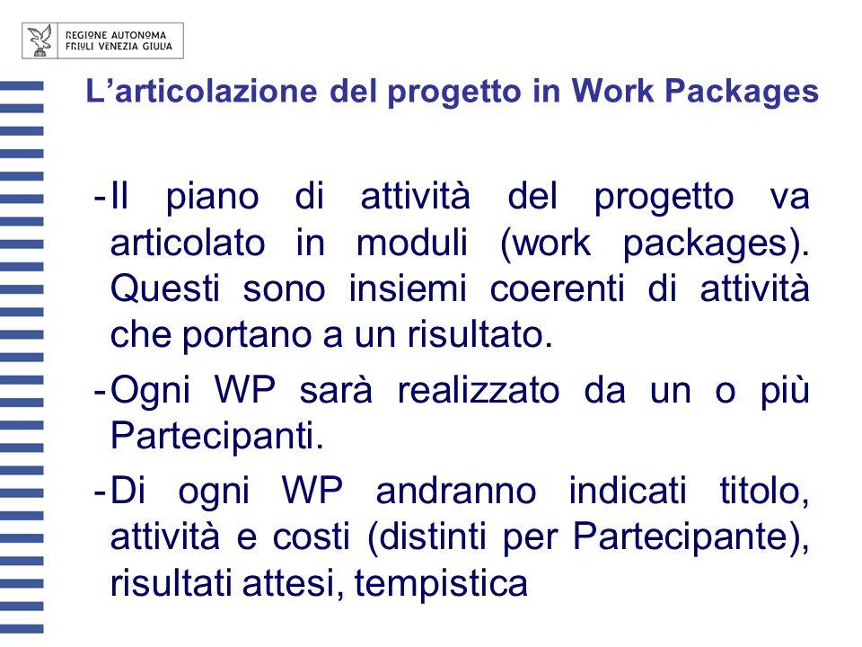 Larticolazione del progetto in Work Packages -Il piano di attività del progetto va articolato in moduli (work packages).