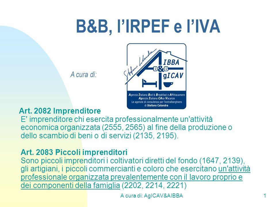 A cura di: AgICAV&AIBBA1 B&B, lIRPEF e lIVA Art. 2082 Imprenditore E' imprenditore chi esercita professionalmente un'attività economica organizzata (2