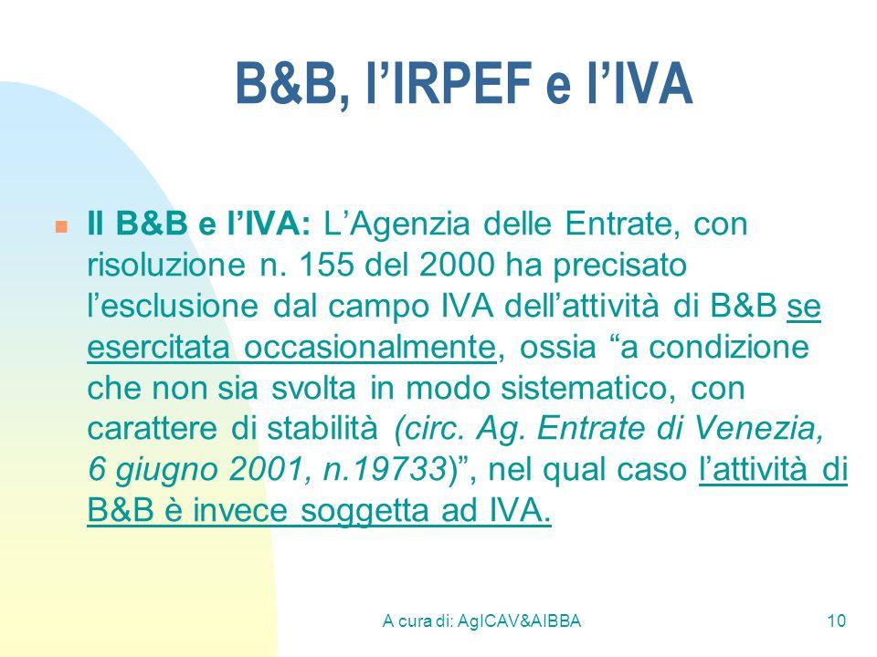 A cura di: AgICAV&AIBBA10 B&B, lIRPEF e lIVA Il B&B e lIVA: LAgenzia delle Entrate, con risoluzione n. 155 del 2000 ha precisato lesclusione dal campo