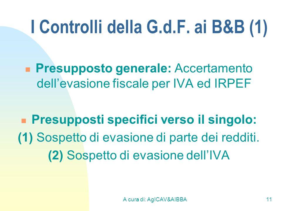 A cura di: AgICAV&AIBBA11 I Controlli della G.d.F. ai B&B (1) Presupposto generale: Accertamento dellevasione fiscale per IVA ed IRPEF Presupposti spe