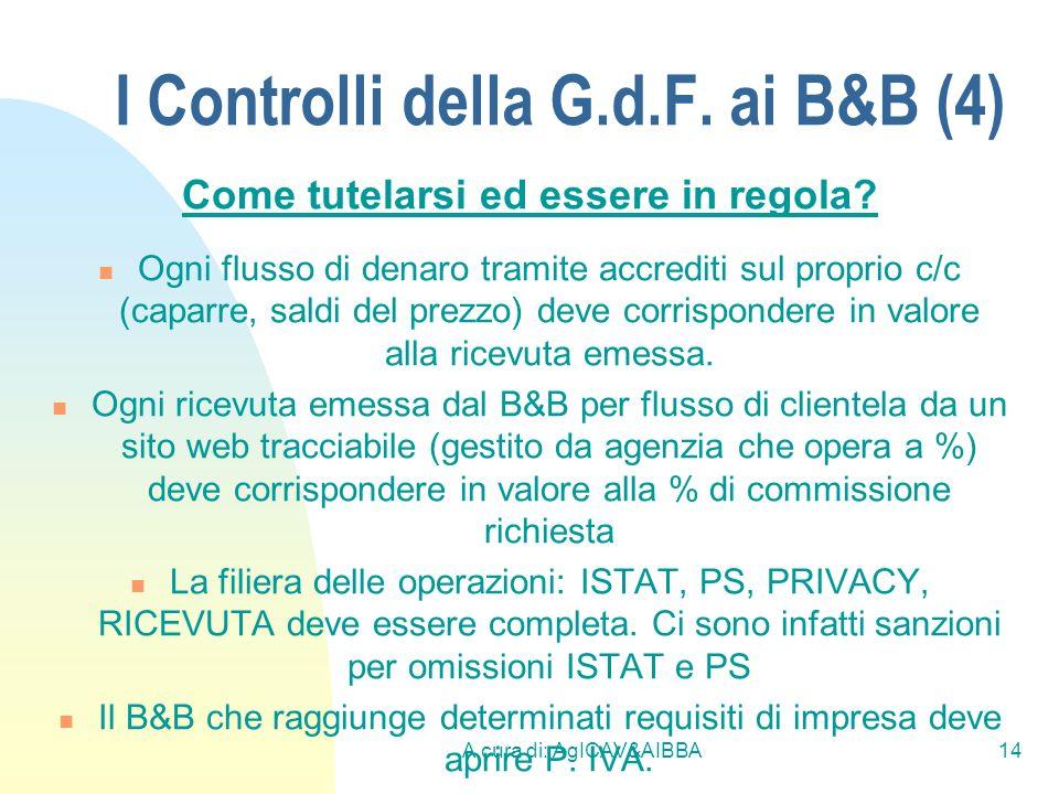 A cura di: AgICAV&AIBBA14 I Controlli della G.d.F. ai B&B (4) Come tutelarsi ed essere in regola? Ogni flusso di denaro tramite accrediti sul proprio
