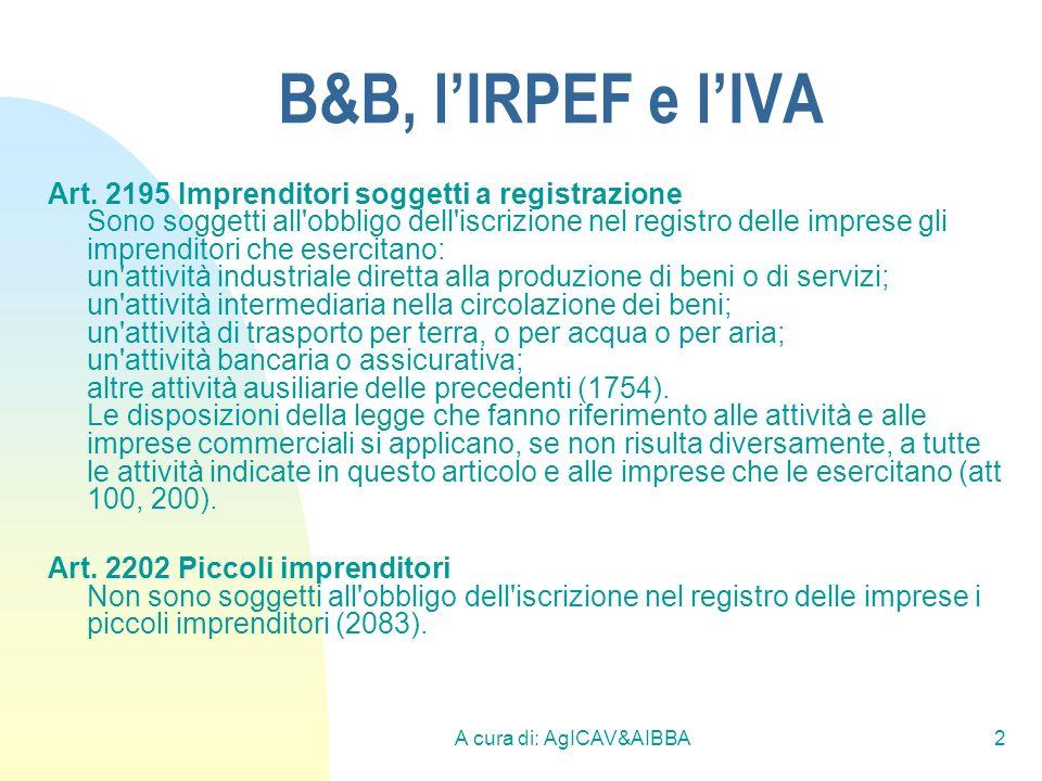A cura di: AgICAV&AIBBA3 B&B, lIRPEF e lIVA Criterio di non imprenditorialità, il criterio è già stabilito dallart.