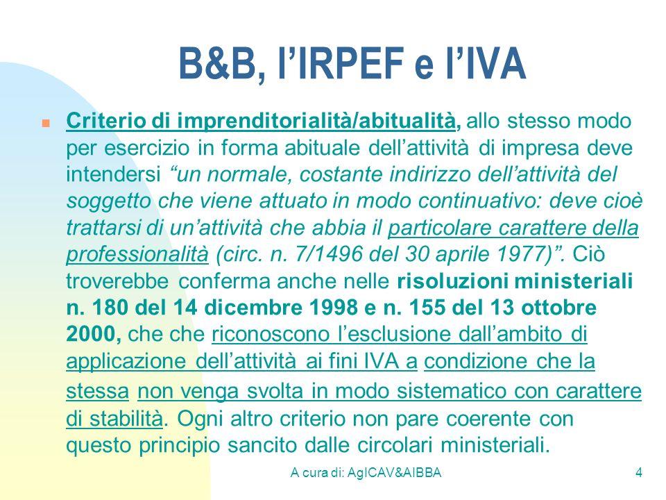 A cura di: AgICAV&AIBBA4 B&B, lIRPEF e lIVA Criterio di imprenditorialità/abitualità, allo stesso modo per esercizio in forma abituale dellattività di
