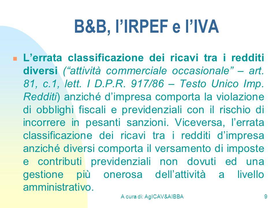 A cura di: AgICAV&AIBBA9 B&B, lIRPEF e lIVA Lerrata classificazione dei ricavi tra i redditi diversi (attività commerciale occasionale – art. 81, c.1,