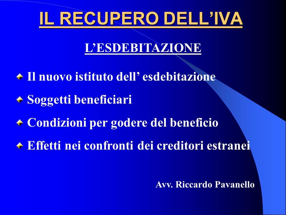 IL RECUPERO DELLIVA Il nuovo istituto dell esdebitazione Soggetti beneficiari Condizioni per godere del beneficio Effetti nei confronti dei creditori