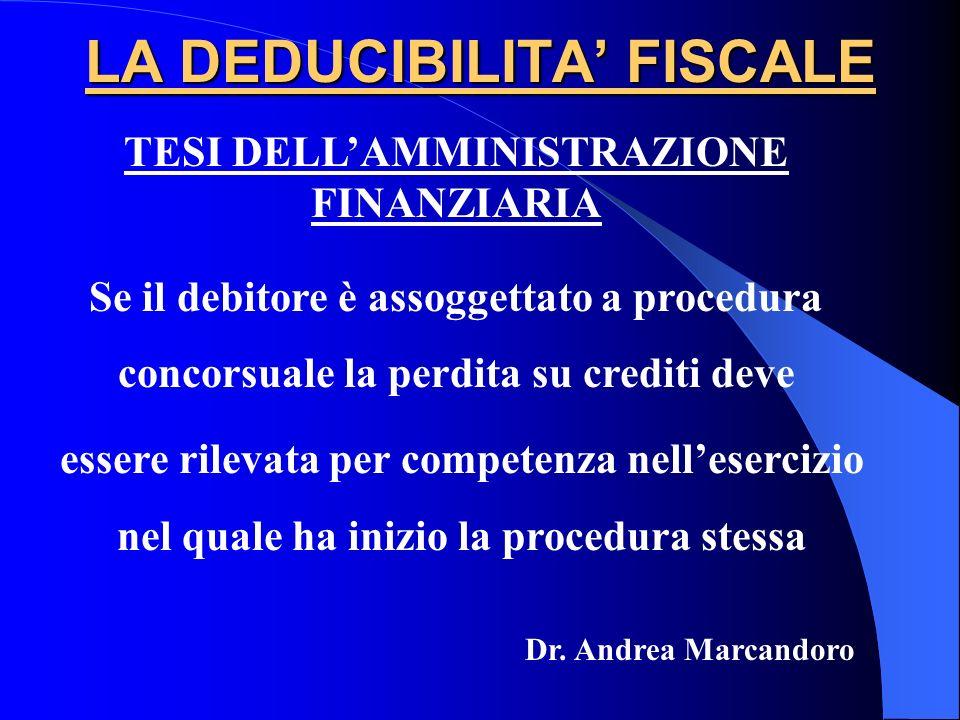 LA DEDUCIBILITA FISCALE TESI DELLAMMINISTRAZIONE FINANZIARIA Se il debitore è assoggettato a procedura concorsuale la perdita su crediti deve essere r