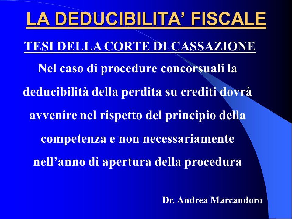 LA DEDUCIBILITA FISCALE TESI DELLA CORTE DI CASSAZIONE Nel caso di procedure concorsuali la deducibilità della perdita su crediti dovrà avvenire nel r