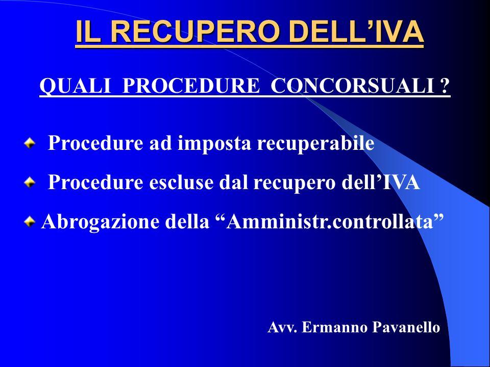 IL RECUPERO DELLIVA Procedure ad imposta recuperabile Procedure escluse dal recupero dellIVA Abrogazione della Amministr.controllata Avv. Ermanno Pava