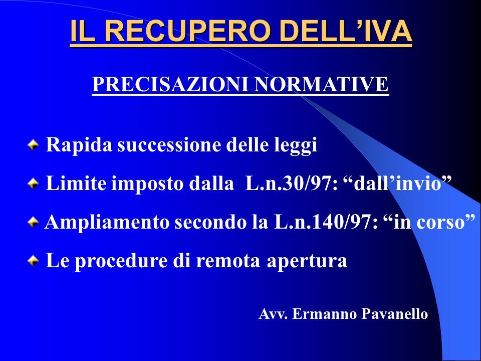 IL RECUPERO DELLIVA PRECISAZIONI NORMATIVE Rapida successione delle leggi Limite imposto dalla L.n.30/97: dallinvio Ampliamento secondo la L.n.140/97: