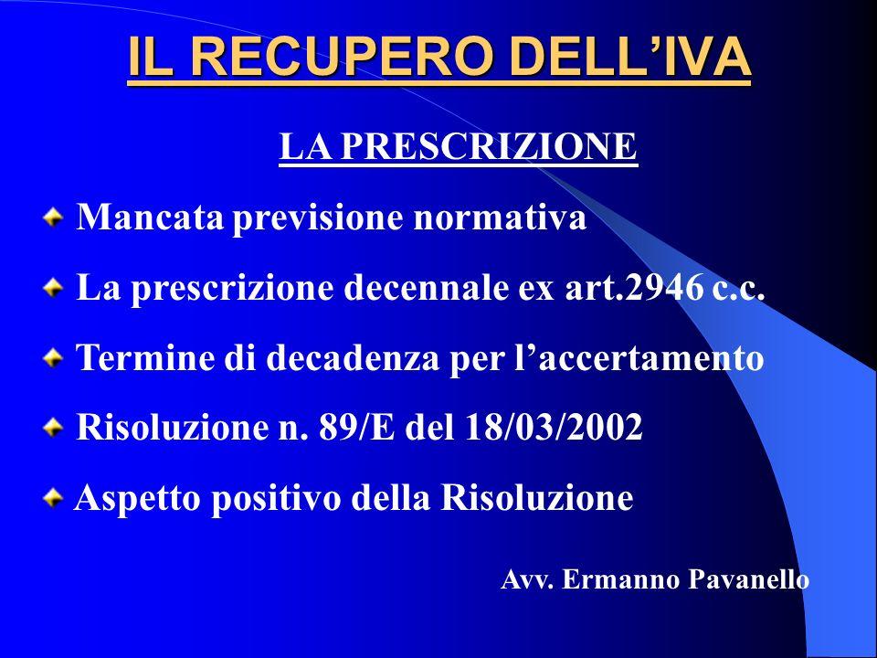 IL RECUPERO DELLIVA LA PRESCRIZIONE Mancata previsione normativa La prescrizione decennale ex art.2946 c.c. Termine di decadenza per laccertamento Ris