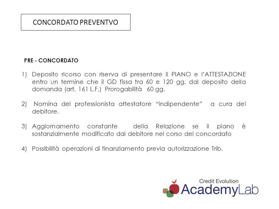 DECRETO SVILUPPO L.134/2012 Maggiore efficacia al Concordato come strumento di composizione della crisi di impresa Incentivo alla emersione tempestiva