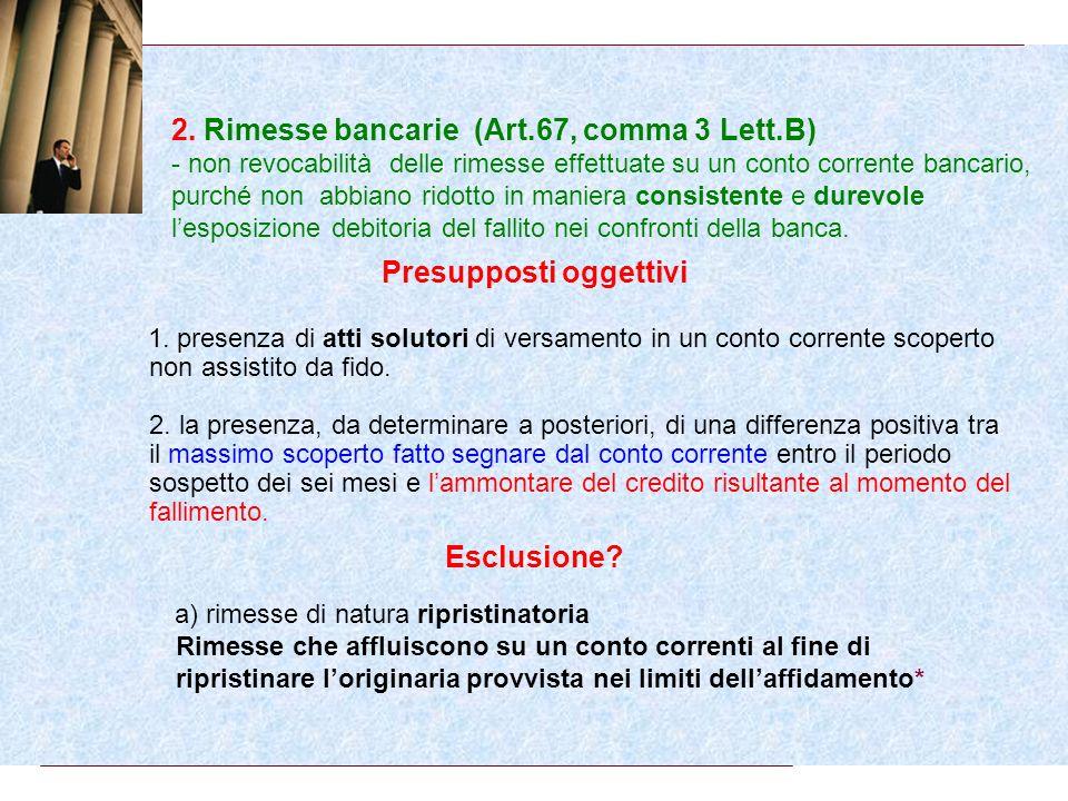 1. Pagamenti nei termini duso (Art.67, comma 3 Lett.A) - non revocabilità dei pagamenti di beni e servizi effettuati nellesercizio dellattività dimpre