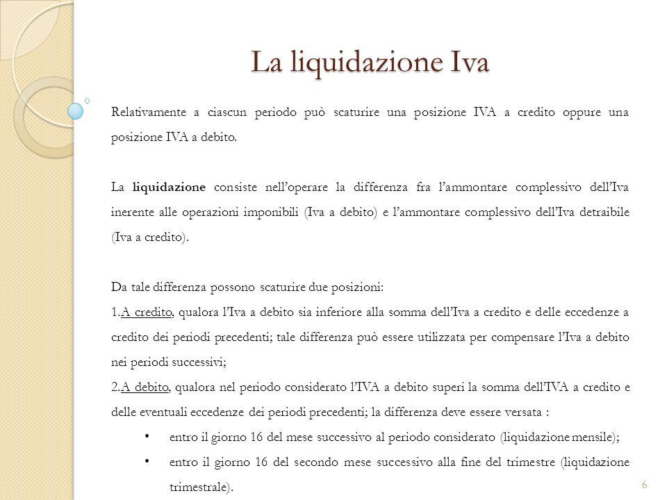 Esempio liquidazione IVA trimestrale PeriodiIva a credito – Acquisti Iva a debito - Vendite Saldo Trimestre Credito Periodo Precedente Saldo IVA I trimestre 1.500,00 (+) 1.200,00 (-) 300,00 (+)- 300,00 (+)¹ II Trimestre 2.500,00 (+) 2.650,00 (-) 150,00 (-) 300,00 (+) 150,00 (+) III Trimestre 4.000,00 (+) 5.100,00 (-) 1.100,00 (-) 150,00 (+) 950,00 (-)² IV Trimestre 1.700,00 (+) 3.800,00 (-) 2.100,00 (-)- 2.100,00 (-)³ ¹ Liva a credito per 300,00 riveniente dalla liquidazione del I trimestre determina un credito che può essere riportato al periodo successivo ed utilizzato per compensare leventuale Iva a debito dei periodi successivi.