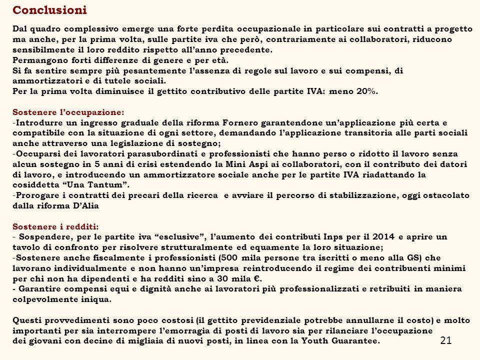 21 Conclusioni Dal quadro complessivo emerge una forte perdita occupazionale in particolare sui contratti a progetto ma anche, per la prima volta, sul