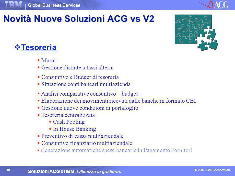 Global Business Services © 2007 IBM Corporation 10 Soluzioni ACG di IBM. Ottimizza la gestione. Tesoreria Mutui Gestione distinte a tassi alterni Cons