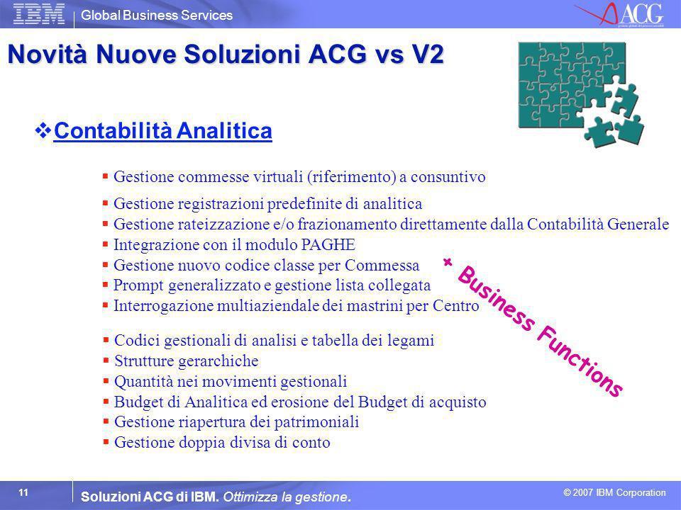 Global Business Services © 2007 IBM Corporation 11 Soluzioni ACG di IBM. Ottimizza la gestione. Contabilità Analitica Gestione commesse virtuali (rife