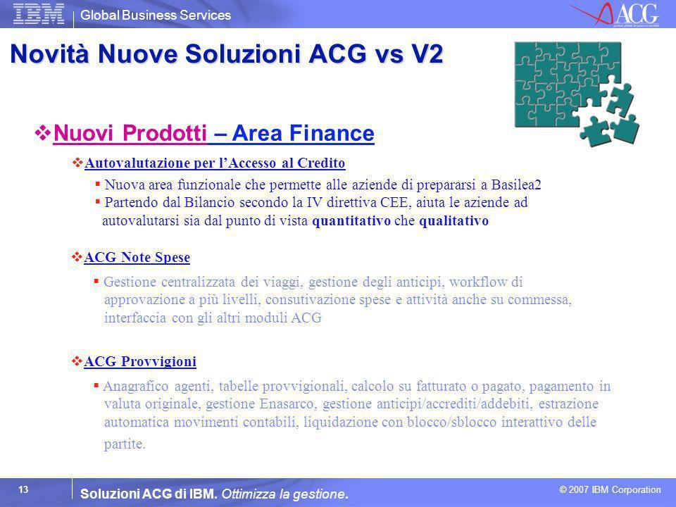 Global Business Services © 2007 IBM Corporation 13 Soluzioni ACG di IBM. Ottimizza la gestione. Autovalutazione per lAccesso al Credito Nuova area fun