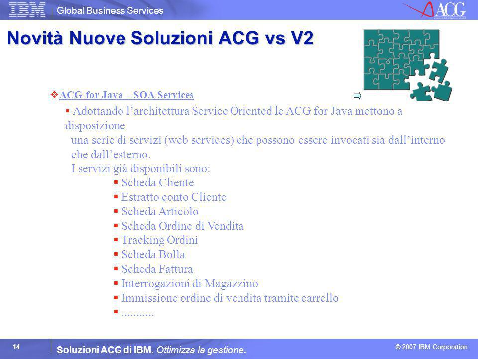 Global Business Services © 2007 IBM Corporation 14 Soluzioni ACG di IBM. Ottimizza la gestione. ACG for Java – SOA Services Adottando larchitettura Se