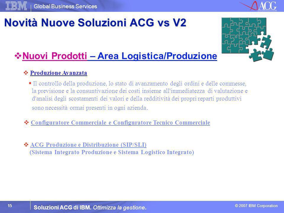 Global Business Services © 2007 IBM Corporation 15 Soluzioni ACG di IBM. Ottimizza la gestione. Configuratore Commerciale e Configuratore Tecnico Comm