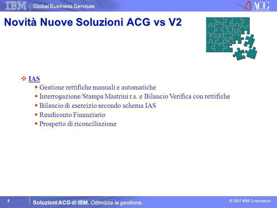 Global Business Services © 2007 IBM Corporation 8 Soluzioni ACG di IBM. Ottimizza la gestione. IAS IAS Gestione rettifiche manuali e automatiche Inter