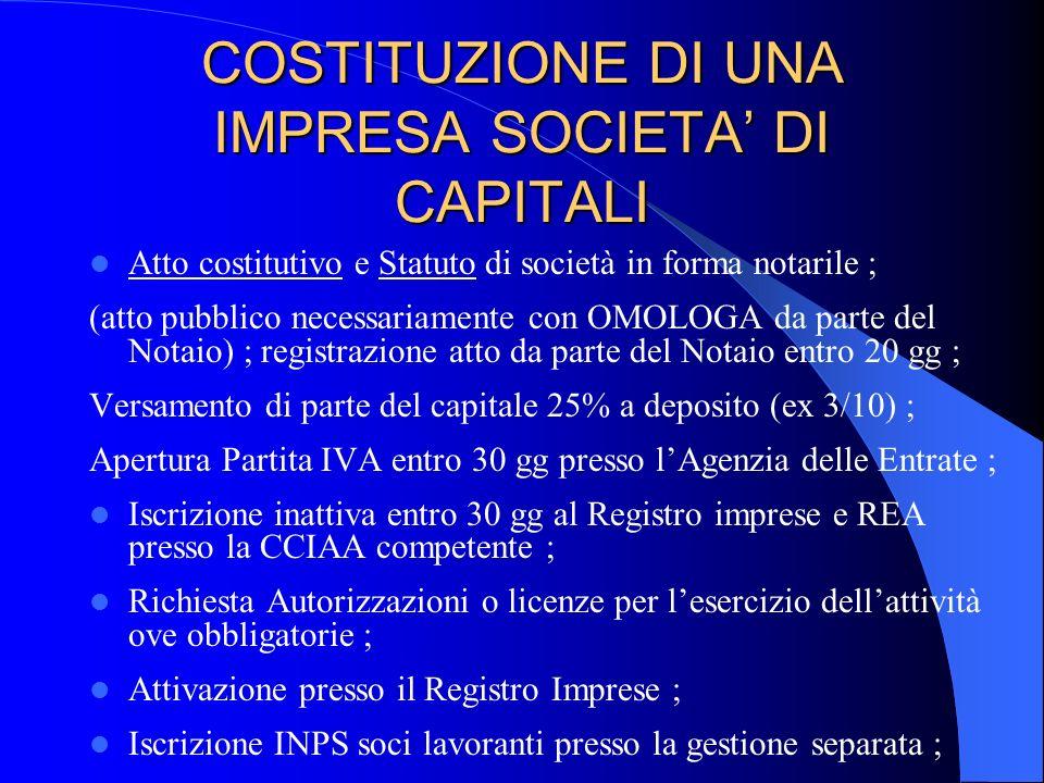 COSTITUZIONE DI UNA IMPRESA SOCIETA DI CAPITALI Atto costitutivo e Statuto di società in forma notarile ; (atto pubblico necessariamente con OMOLOGA d
