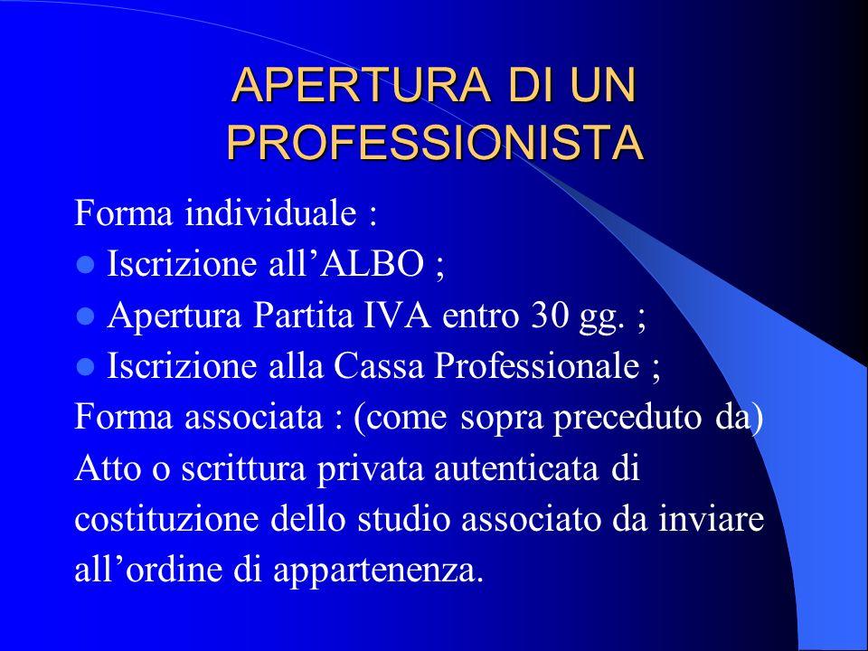APERTURA DI UN PROFESSIONISTA Forma individuale : Iscrizione allALBO ; Apertura Partita IVA entro 30 gg. ; Iscrizione alla Cassa Professionale ; Forma