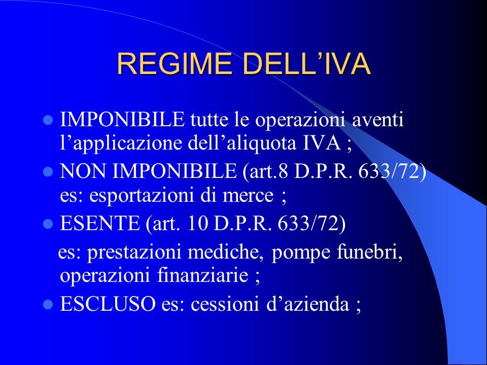 REGIME DELLIVA IMPONIBILE tutte le operazioni aventi lapplicazione dellaliquota IVA ; NON IMPONIBILE (art.8 D.P.R. 633/72) es: esportazioni di merce ;