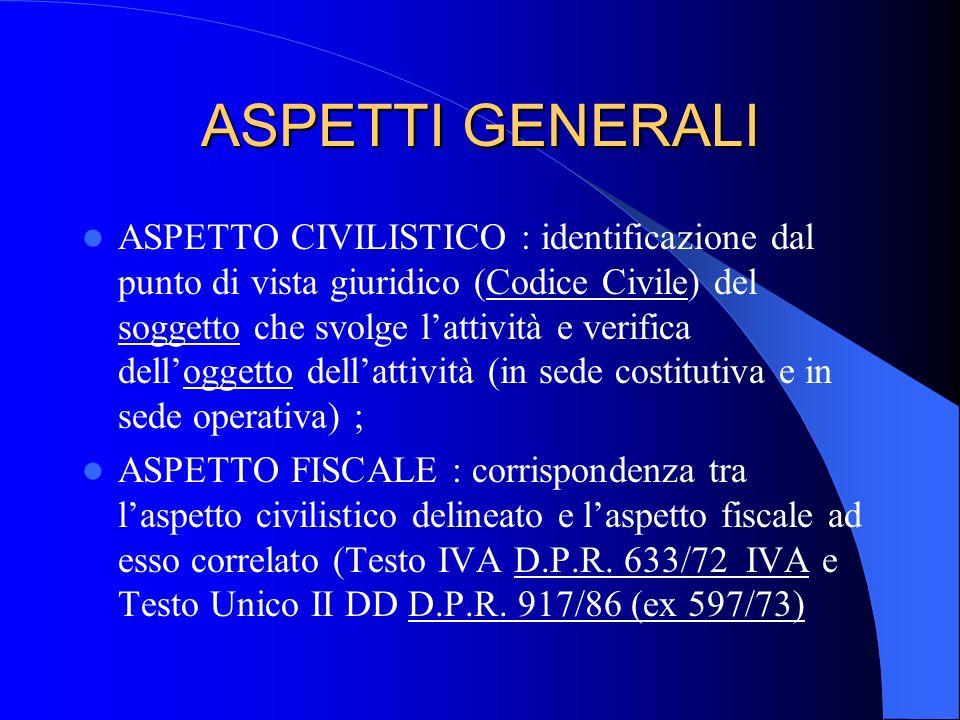 ASPETTI GENERALI ASPETTO CIVILISTICO : identificazione dal punto di vista giuridico (Codice Civile) del soggetto che svolge lattività e verifica dello