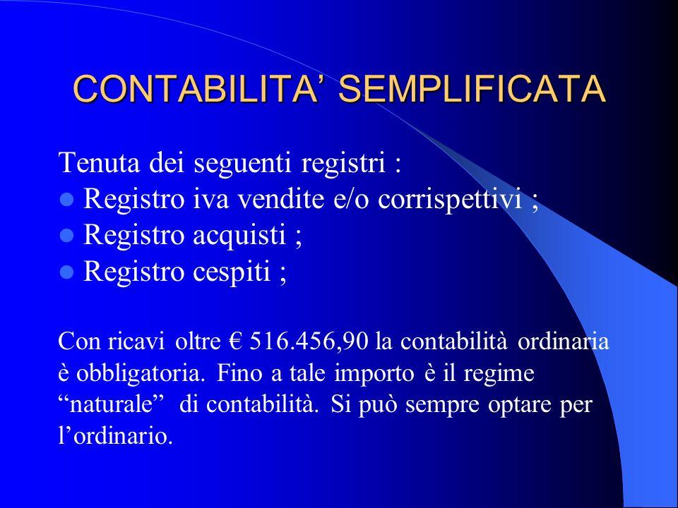 CONTABILITA SEMPLIFICATA Tenuta dei seguenti registri : Registro iva vendite e/o corrispettivi ; Registro acquisti ; Registro cespiti ; Con ricavi olt