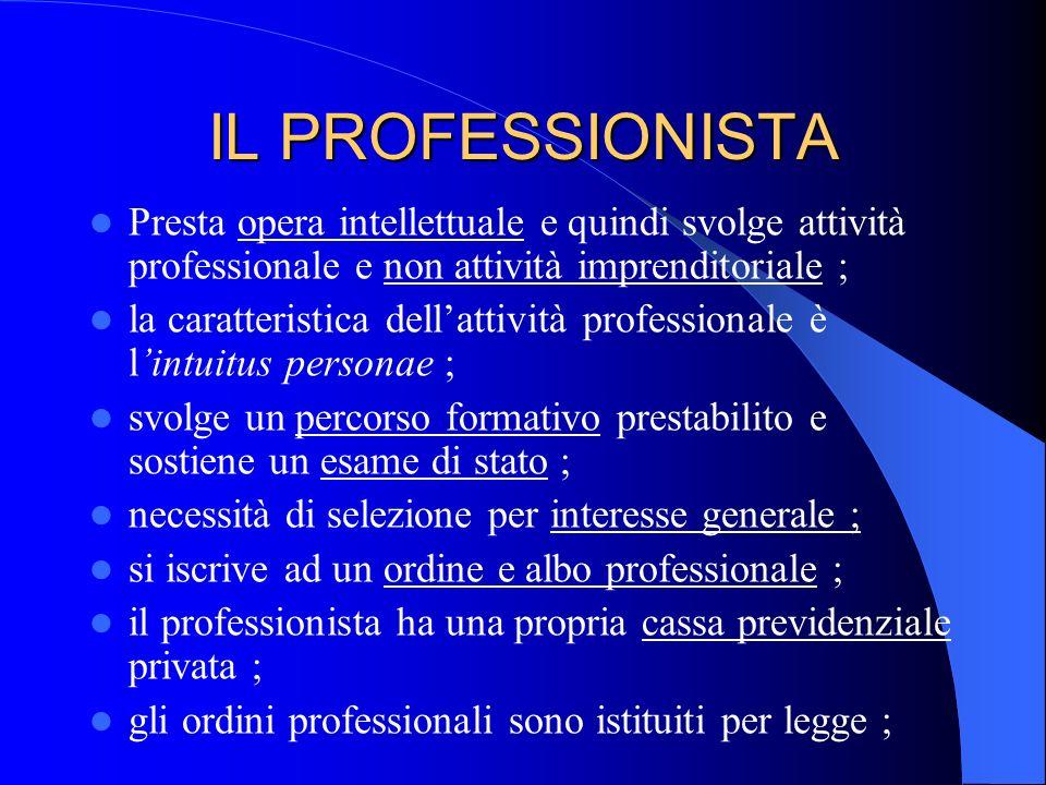 IL PROFESSIONISTA Presta opera intellettuale e quindi svolge attività professionale e non attività imprenditoriale ; la caratteristica dellattività pr