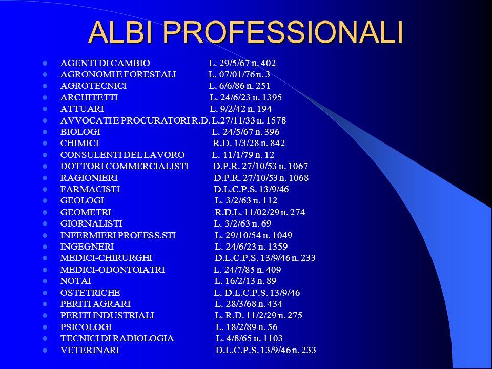 ALBI PROFESSIONALI AGENTI DI CAMBIO L. 29/5/67 n. 402 AGRONOMI E FORESTALI L. 07/01/76 n. 3 AGROTECNICI L. 6/6/86 n. 251 ARCHITETTI L. 24/6/23 n. 1395