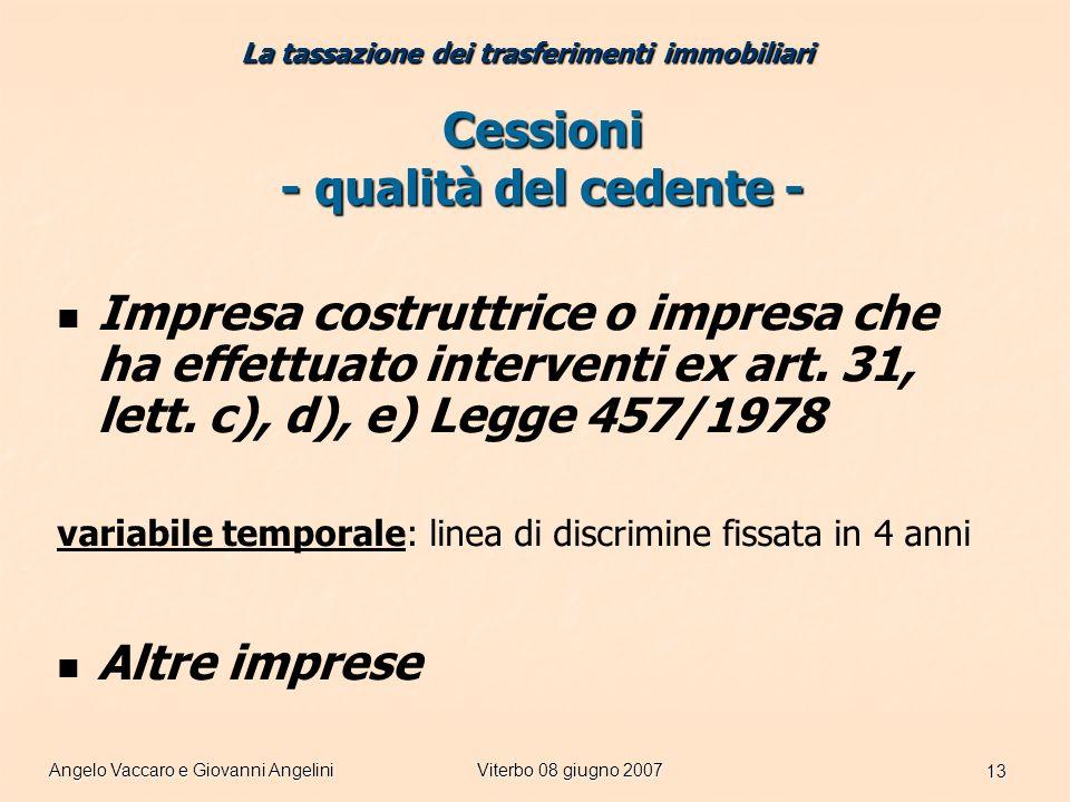 Angelo Vaccaro e Giovanni AngeliniViterbo 08 giugno 2007 13 Cessioni - qualità del cedente - Impresa costruttrice o impresa che ha effettuato interventi ex art.