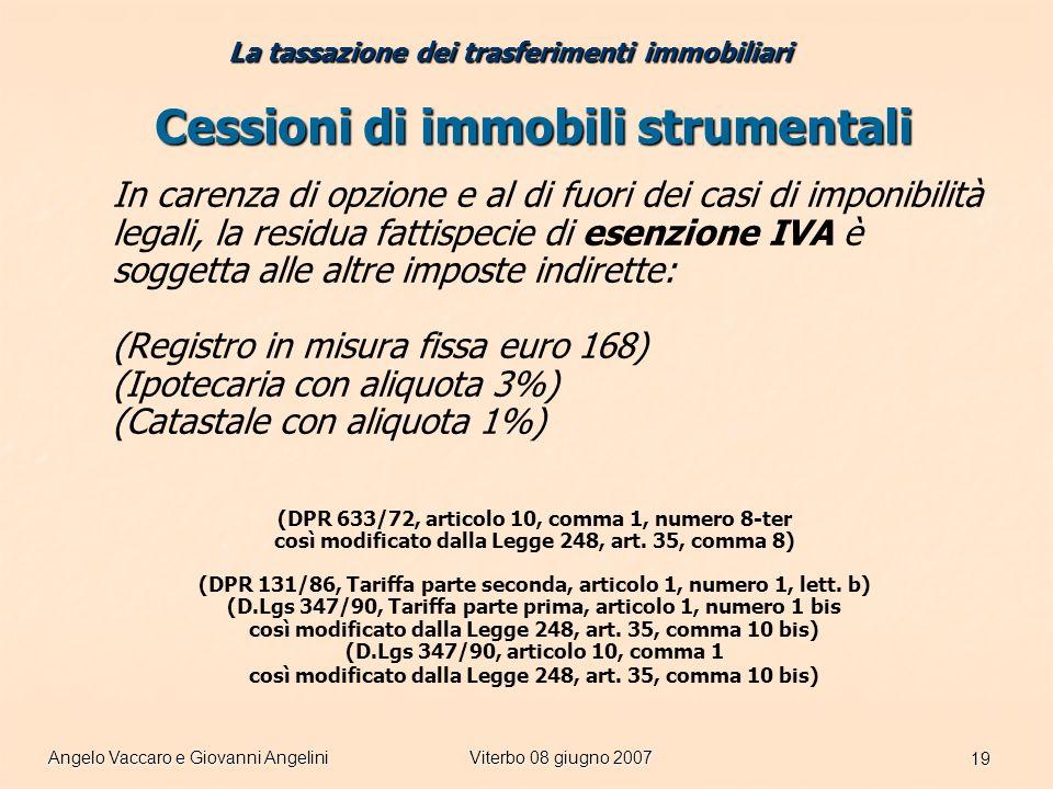 Angelo Vaccaro e Giovanni AngeliniViterbo 08 giugno 2007 19 Cessioni di immobili strumentali In carenza di opzione e al di fuori dei casi di imponibilità legali, la residua fattispecie di esenzione IVA è soggetta alle altre imposte indirette: (Registro in misura fissa euro 168) (Ipotecaria con aliquota 3%) (Catastale con aliquota 1%) (DPR 633/72, articolo 10, comma 1, numero 8-ter così modificato dalla Legge 248, art.