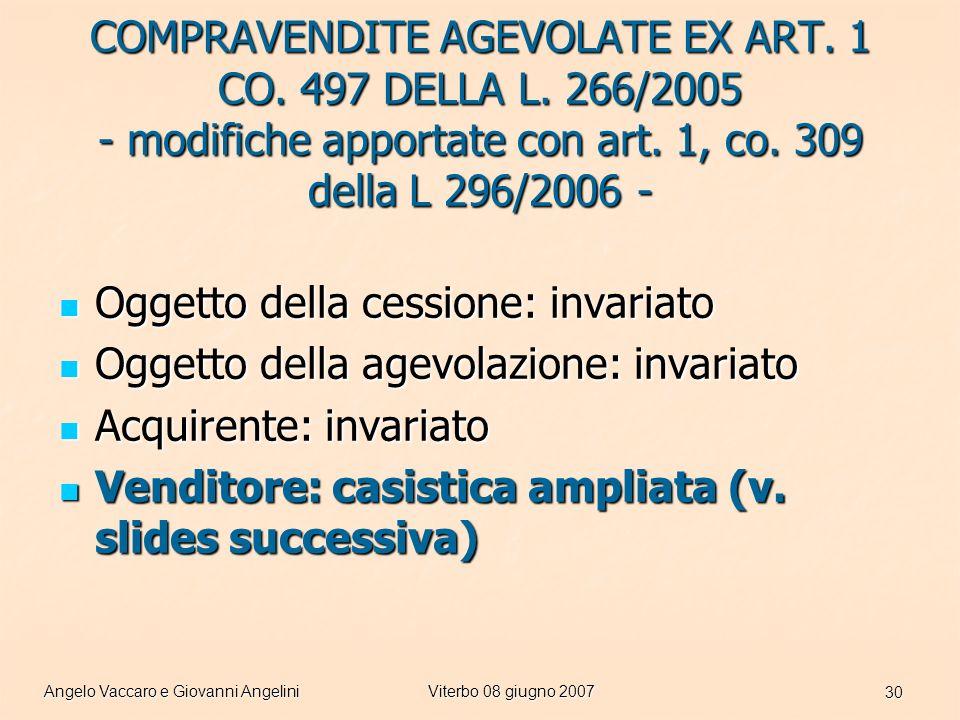 Angelo Vaccaro e Giovanni AngeliniViterbo 08 giugno 2007 30 COMPRAVENDITE AGEVOLATE EX ART.