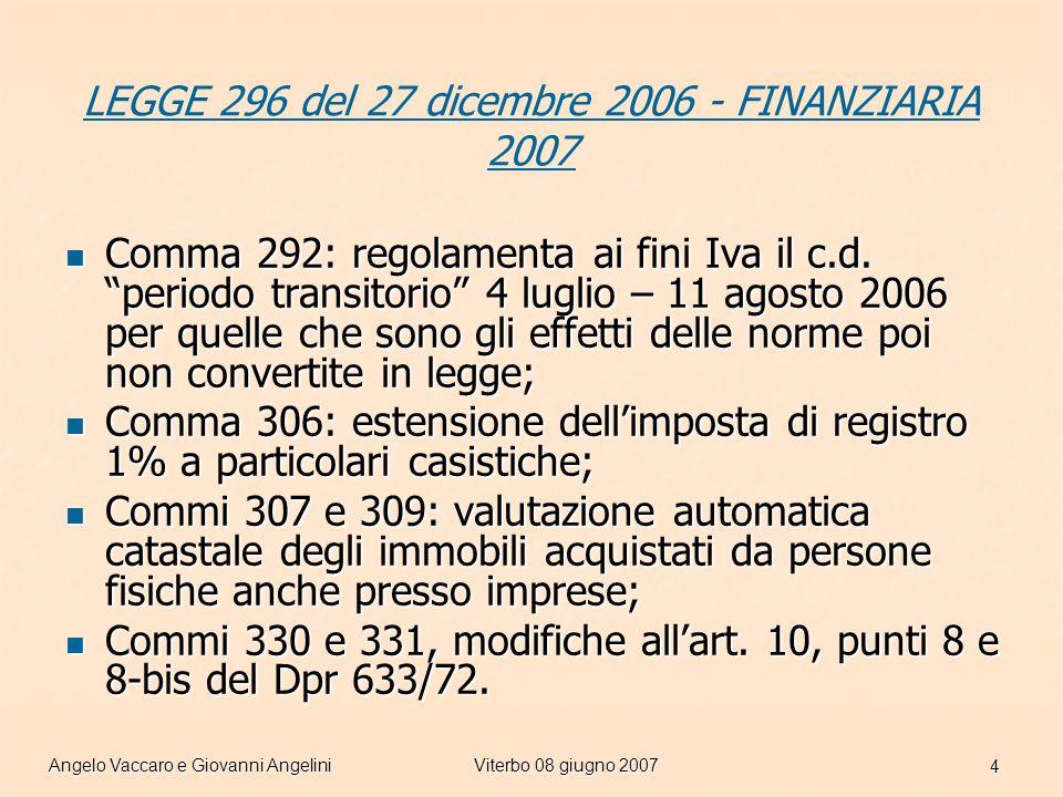 Angelo Vaccaro e Giovanni AngeliniViterbo 08 giugno 2007 15 Cessioni di fabbricati abitativi … segue … Le aliquote IVA applicabili a tali fattispecie: IVA 4%prima casa IVA 10%fabbricato non di lusso o ristrutturato IVA 20% fabbricato di lusso (DM 2.8.1969) in tutti i casi la cessione è soggetta alle altre imposte indirette in misura fissa (Registro euro 168) (Ipotecaria euro 168) (Catastale euro 168) La tassazione dei trasferimenti immobiliari