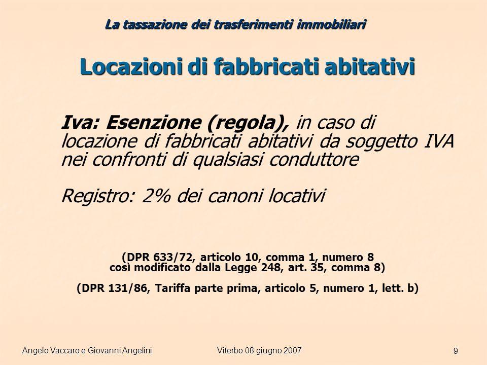 Angelo Vaccaro e Giovanni AngeliniViterbo 08 giugno 2007 9 Locazioni di fabbricati abitativi Iva: Esenzione (regola), in caso di locazione di fabbricati abitativi da soggetto IVA nei confronti di qualsiasi conduttore Registro: 2% dei canoni locativi (DPR 633/72, articolo 10, comma 1, numero 8 così modificato dalla Legge 248, art.