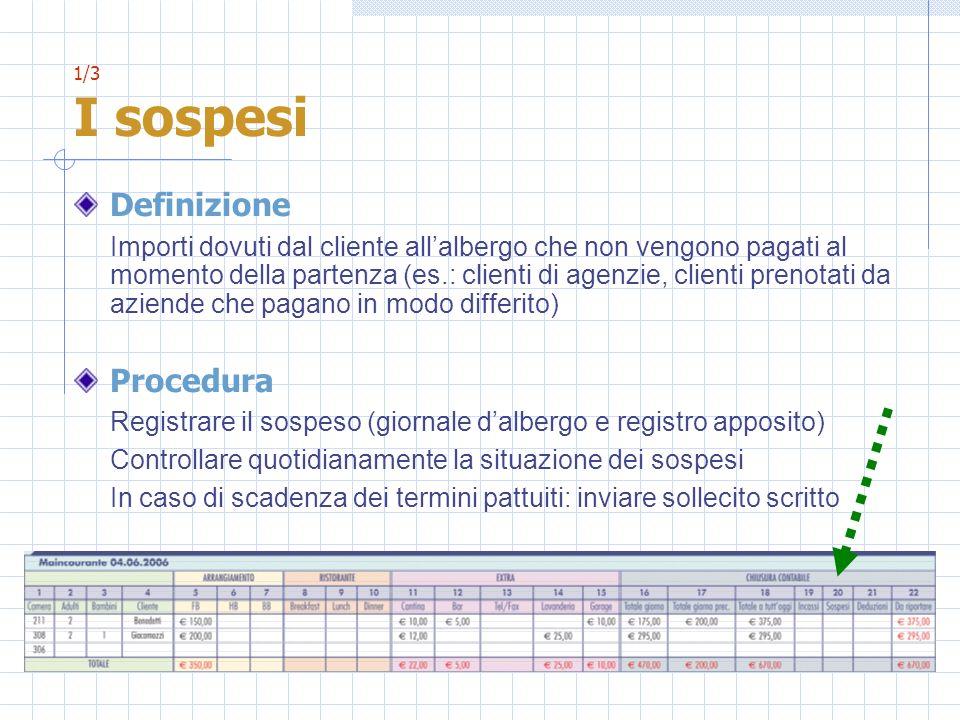 1/3 I sospesi Definizione Importi dovuti dal cliente allalbergo che non vengono pagati al momento della partenza (es.: clienti di agenzie, clienti pre