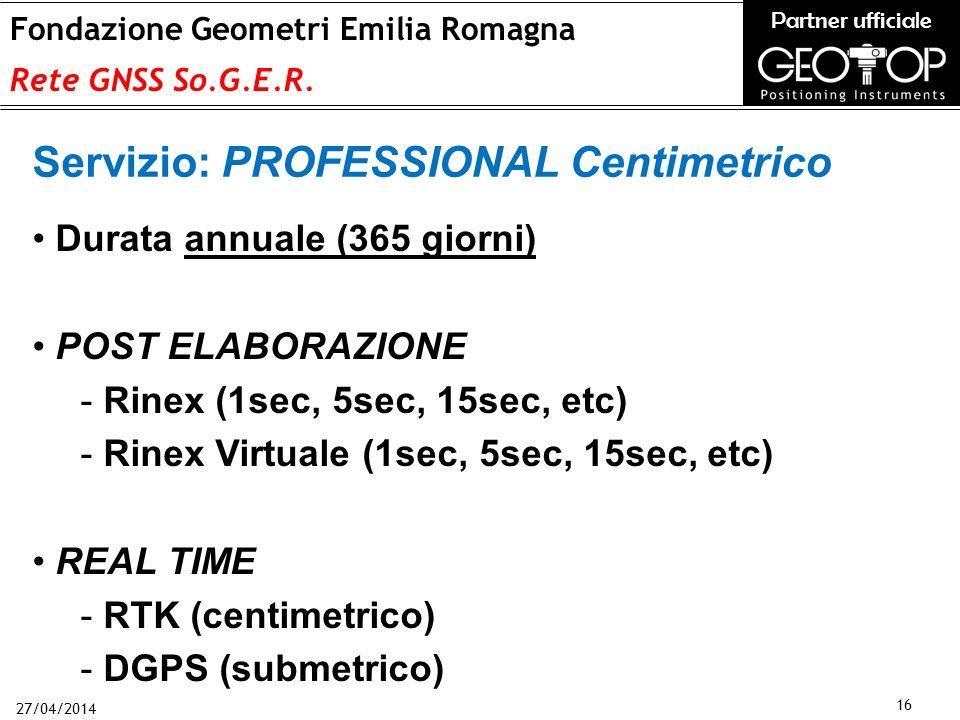27/04/2014 16 Fondazione Geometri Emilia Romagna Rete GNSS So.G.E.R.