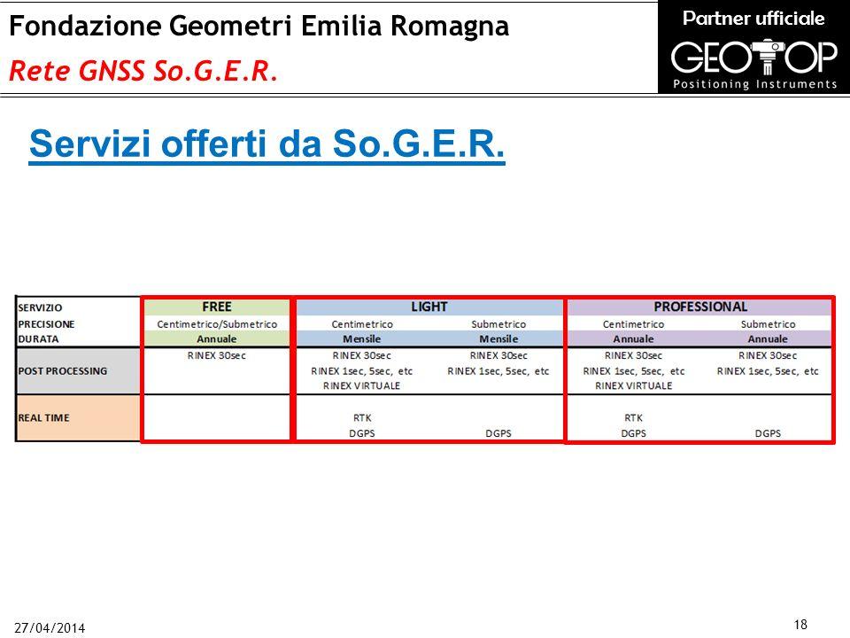 27/04/2014 18 Fondazione Geometri Emilia Romagna Rete GNSS So.G.E.R.