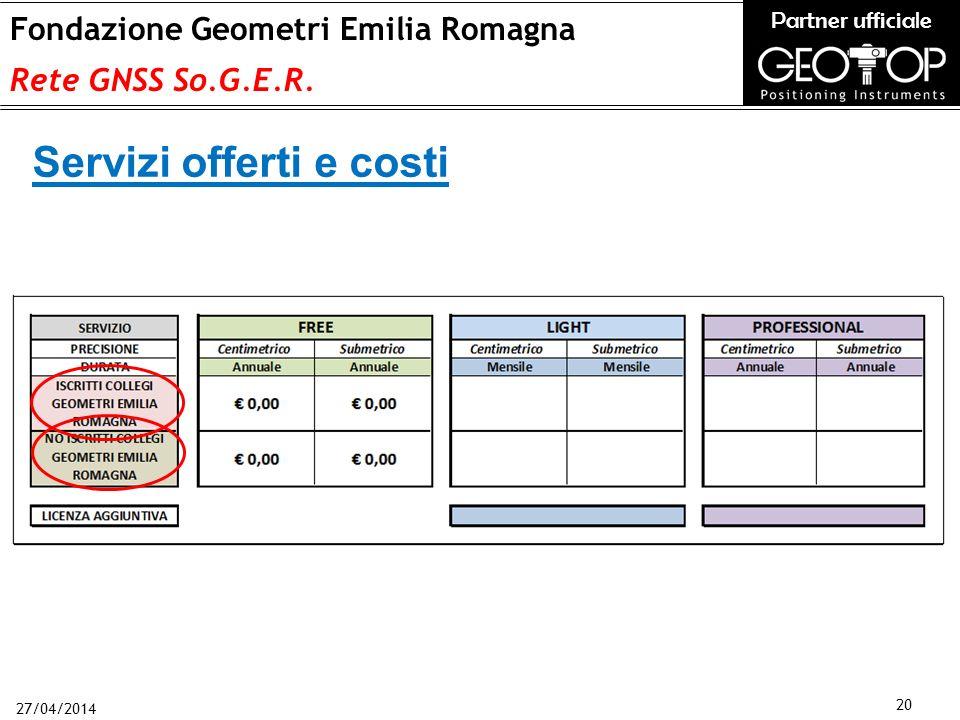 27/04/2014 20 Fondazione Geometri Emilia Romagna Rete GNSS So.G.E.R.