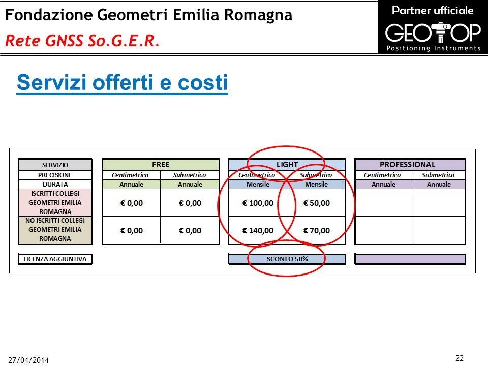 27/04/2014 22 Fondazione Geometri Emilia Romagna Rete GNSS So.G.E.R.