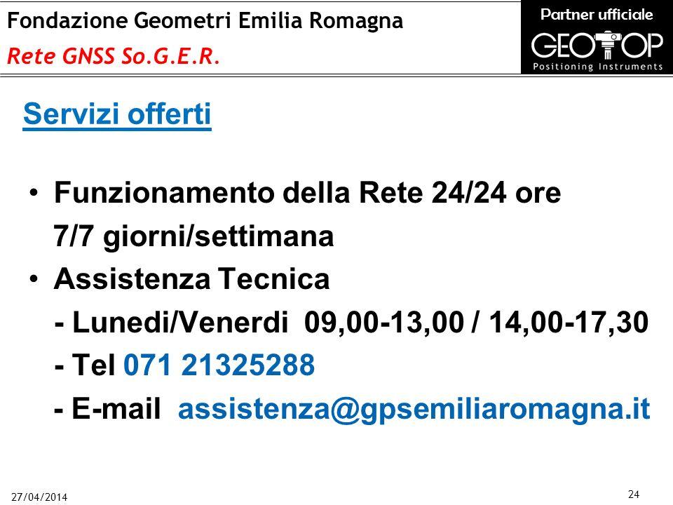 27/04/2014 24 Fondazione Geometri Emilia Romagna Rete GNSS So.G.E.R.