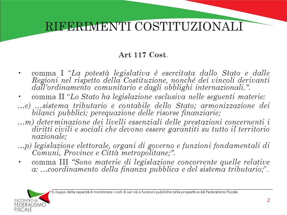 Sviluppo della capacità di monitorare i costi di servizi e funzioni pubbliche nella prospettiva del Federalismo Fiscale RIFERIMENTI COSTITUZIONALI Art.