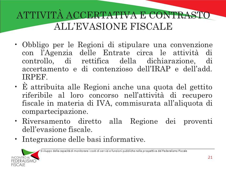 Sviluppo della capacità di monitorare i costi di servizi e funzioni pubbliche nella prospettiva del Federalismo Fiscale ATTIVITÀ ACCERTATIVA E CONTRAS
