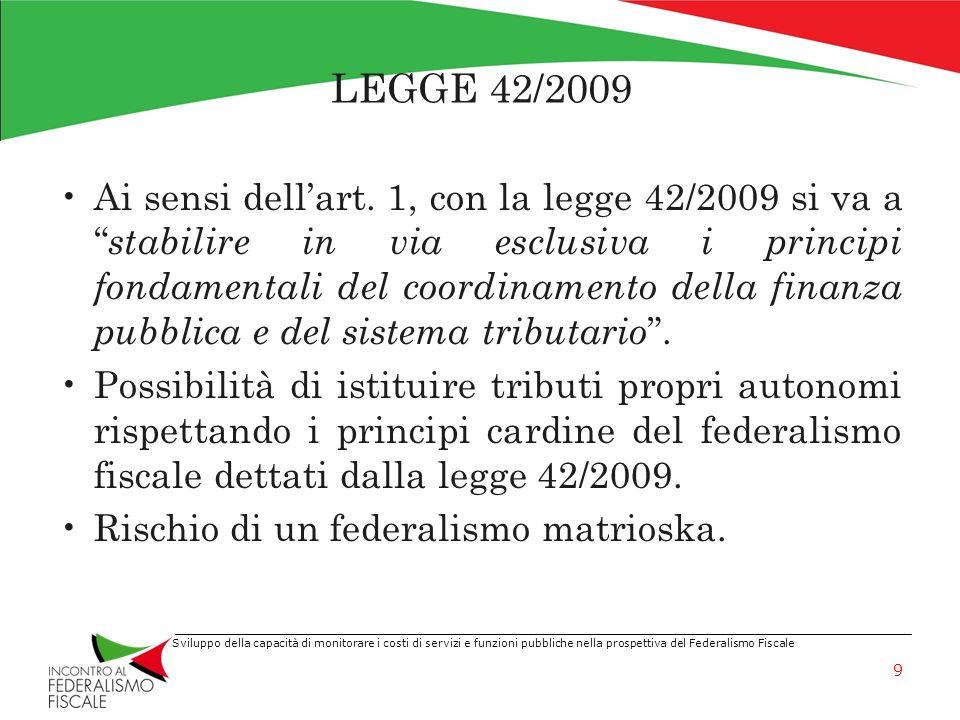 Sviluppo della capacità di monitorare i costi di servizi e funzioni pubbliche nella prospettiva del Federalismo Fiscale LEGGE 42/2009 Ai sensi dellart