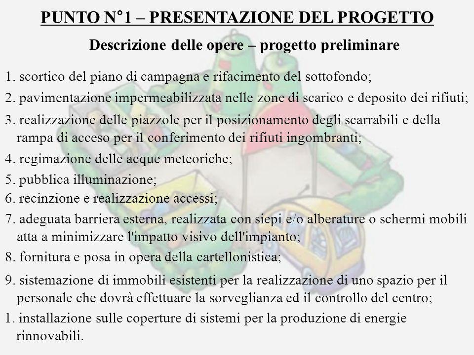 PUNTO N°1 – PRESENTAZIONE DEL PROGETTO Descrizione delle opere – progetto preliminare 1. scortico del piano di campagna e rifacimento del sottofondo;